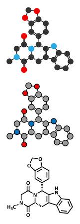 Tadalafil erectile dysfunction drug molecule. Conventional skeletal formula and stylized representations. Vector
