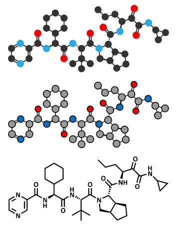 protease: Telaprevir hepatitis C virus mol�cula de f�rmaco. F�rmula esquel�tico convencional y representaciones estilizadas.