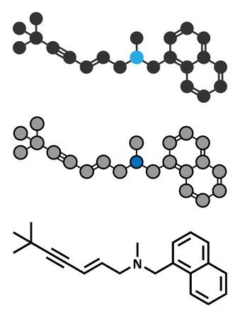 Terbinafine antifungal drug molecule. Conventional skeletal formula and stylized representations.