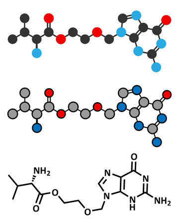 Valaciclovir (valacyclovir) herpes infection drug molecule. Conventional skeletal formula and stylized representations. Vector