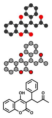 anticoagulant: La warfarina mol�cula de f�rmaco anticoagulante. Utilizado en la trombosis y la prevenci�n de la tromboembolia. F�rmula esquel�tico convencional y representaciones estilizadas.