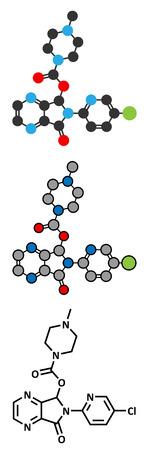 insomnia: Zopiclone insomnia drug (sleeping pill, z-drug) molecule. Conventional skeletal formula and stylized representations. Illustration