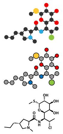 Clindamycin antibiotic drug (lincosamide class) molecule. Conventional skeletal formula and stylized representations.