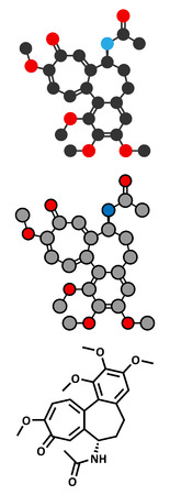 representations: Colchicin gout drug molecule. Conventional skeletal formula and stylized representations.
