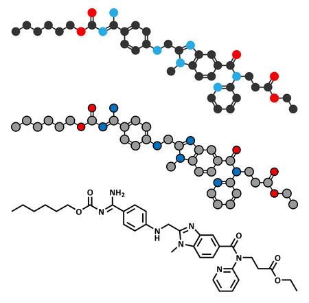 anticoagulant: Medicamento anticoagulante etexilato (inhibidor directo de la trombina) mol�cula. F�rmula esquel�tico convencional y representaciones estilizadas.