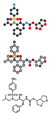 inhibitor: Darunavir HIV drug (protease inhibitor class) molecule. Conventional skeletal formula and stylized representations. Illustration