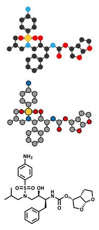 protease: Drogas darunavir VIH (clase de los inhibidores de la proteasa) mol�cula. F�rmula esquel�tico convencional y representaciones estilizadas.