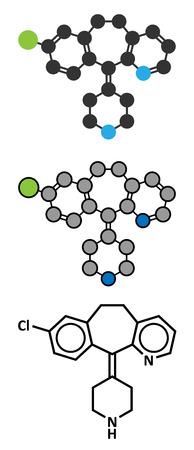 pokrzywka: Lek przeciwhistaminowy cząsteczka Desloratadyna. Stosowany w leczeniu katar sienny, pokrzywka i alergie. Konwencjonalny wzór szkieletowych i stylizowane reprezentacje.