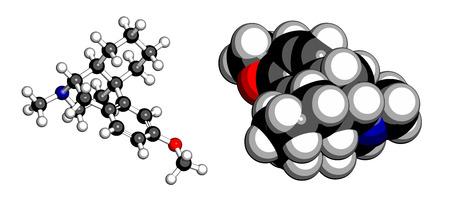 opioid: Dextromethorphan cough suppressant drug (antitussive) molecule. Conventional skeletal formula and stylized representations. Illustration
