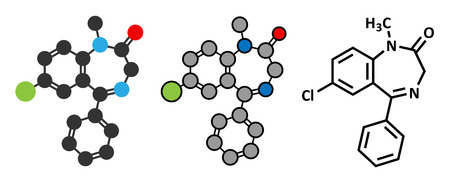Diazepam sedative and hypnotic drug (benzodiazepine class) molecule. Conventional skeletal formula and stylized representations.