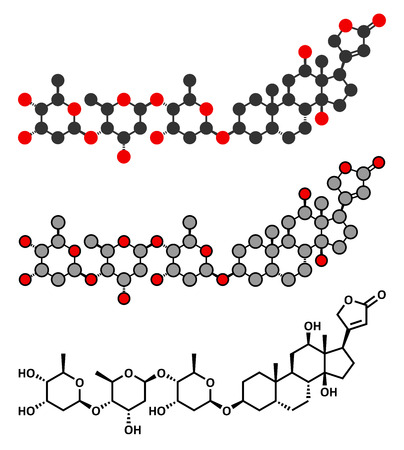 atrial: Digoxin heart failure drug molecule. Extracted from foxglove plant (digitalis lanata). Conventional skeletal formula and stylized representations.