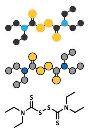 enzyme: Disulfiram alcoholism treatment drug molecule. Conventional skeletal formula and stylized representations.