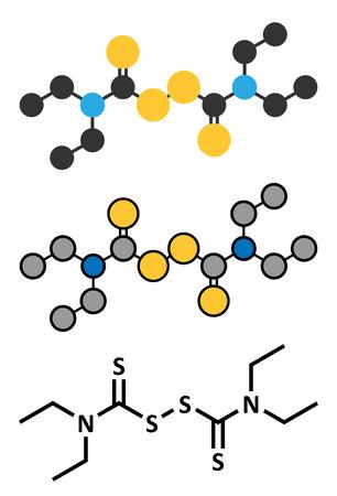 alcoholism: Disulfiram alcoholism treatment drug molecule. Conventional skeletal formula and stylized representations.