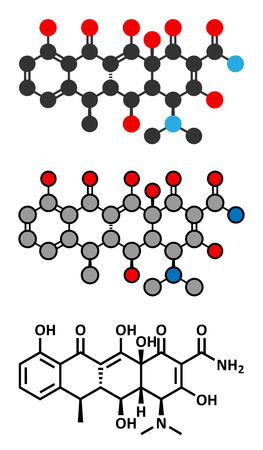 lyme: Doxycycline antibiotic drug (tetracycline class) molecule.  Conventional skeletal formula and stylized representations. Illustration