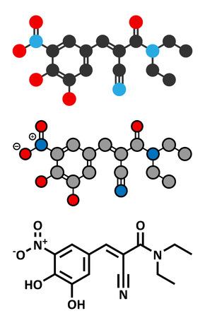 parkinson's: Entacapone Parkinsons disease drug molecule. Conventional skeletal formula and stylized representations.