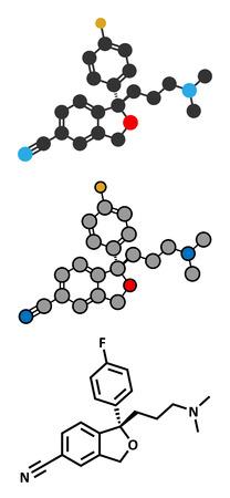 premenstrual: Escitalopram antidepressant drug (SSRI class) molecule. Conventional skeletal formula and stylized representations.