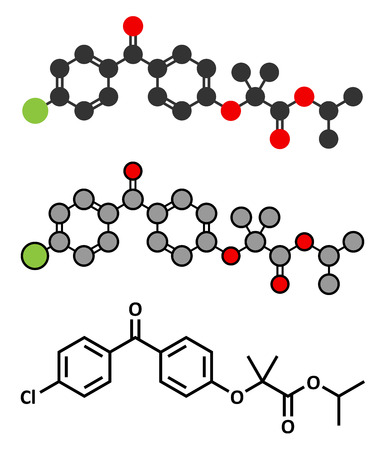 lowering: Fenofibrate cholesterol lowering drug (fibrate class) molecule. Conventional skeletal formula and stylized representations.