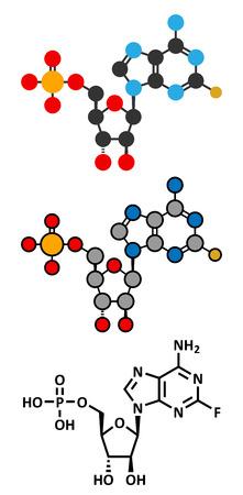 fluorine: Fludarabine blood cancer drug molecule. Conventional skeletal formula and stylized representations.