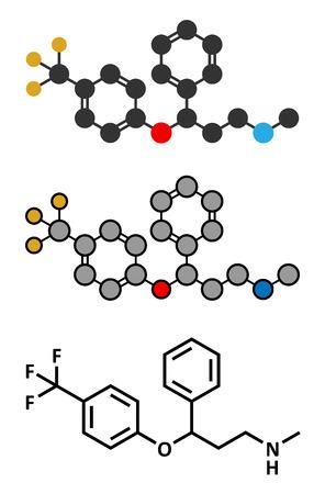 premenstrual: Fluoxetine antidepressant drug (SSRI class) molecule. Conventional skeletal formula and stylized representations.