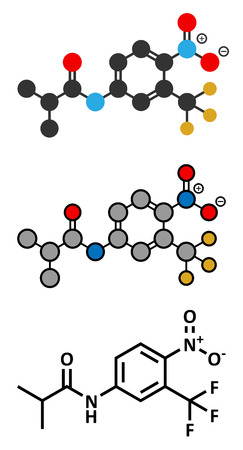 fluorine: Flutamide prostate cancer drug (anti-androgen) molecule. Conventional skeletal formula and stylized representations.