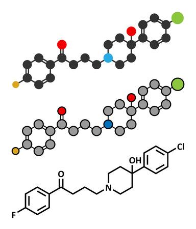 Haloperidol antipsychotic (neuroleptic) drug molecule. Conventional skeletal formula and stylized representations. Illustration