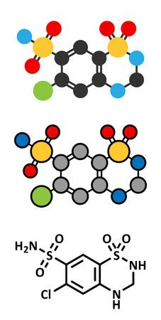 representations: Hydrochlorothiazide diuretic drug molecule. Conventional skeletal formula and stylized representations.