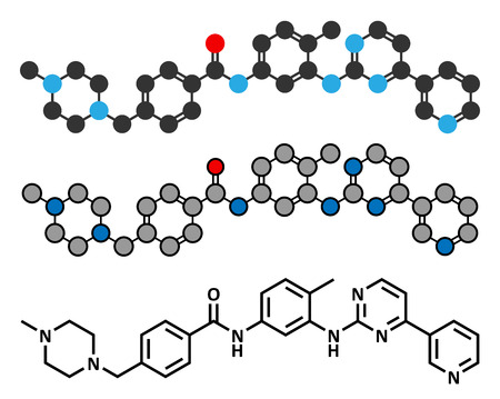 inhibitor: Imatinib cancer drug molecule. Tyrosine-kinase inhibitor. Conventional skeletal formula and stylized representations. Illustration
