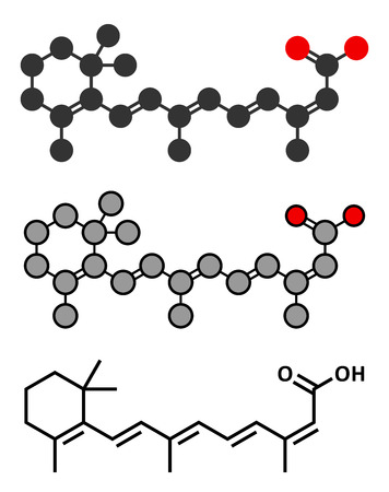 defects: Isotretinoin acne treatment drug molecule. Known to be a teratogen (causes birth defects). Conventional skeletal formula and stylized representations.