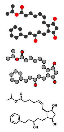 Latanaprost glaucoma drug molecule. Conventional skeletal formula and stylized representations.
