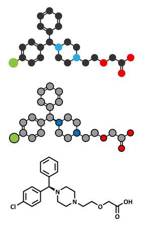 antihistamine: Cetirizine (levocetirizine) antihistamine drug molecule. Used to treat hay fever, urticaria and allergies. Conventional skeletal formula and stylized representations. Illustration