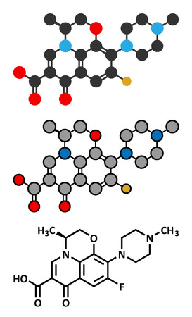 fluorine: Levofloxacin antibiotic drug (fluoroquinolone class) molecule. Conventional skeletal formula and stylized representations.
