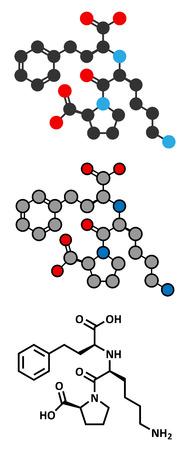 enzyme: Lisinopril hypertension or high blood pressure drug (ACE inhibitor) molecule. Conventional skeletal formula and stylized representations.