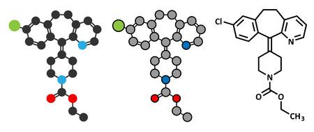 pokrzywka: Lek przeciwhistaminowy loratadyna cząsteczka. Stosowany w leczeniu katar sienny, pokrzywka i alergie. Konwencjonalny wzór szkieletowych i stylizowane reprezentacje.