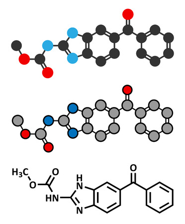 parasitic infestation: Mebendazole anthelmintic drug molecule. Used to treat worm infestations. Conventional skeletal formula and stylized representations.