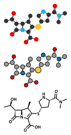 chemical structure: Meropenem broad-spectrum antibiotic (carbapenem class), chemical structure. Conventional skeletal formula and stylized representations. Illustration