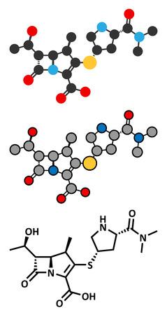 penicillin: Meropenem broad-spectrum antibiotic (carbapenem class), chemical structure. Conventional skeletal formula and stylized representations. Illustration