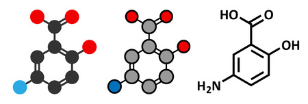 bowel disease: La mesalazina (mesalamina, 5-aminosalic�lico, 5-ASA) inflamatoria intestinal mol�cula de la droga enfermedad. Se utiliza para tratar la colitis ulcerosa y enfermedad de Crohn. F�rmula esquel�tico convencional y representaciones estilizadas.