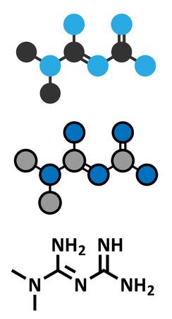 metformin: Metformin diabetes drug (biguanide class) molecule. Conventional skeletal formula and stylized representations. Illustration
