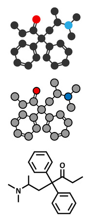 opioid: Methadone opioid dependency drug molecule. Also used as analgesic. Conventional skeletal formula and stylized representations.