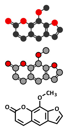 carcinogen: methoxsalen (psoralen) skin disease drug molecule. Used in PUVA therapy in combination with UVA radiation. Conventional skeletal formula and stylized representations.