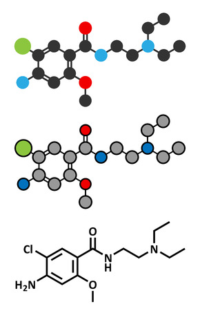 gastroparesis: Metoclopramide nausea and vomiting treatment drug molecule. Conventional skeletal formula and stylized representations.