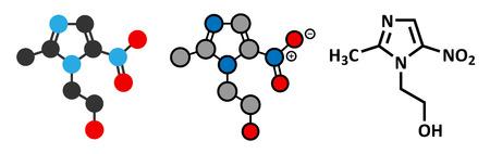 giardia: Metronidazole antibiotic drug (nitroimidazole class) molecule. Conventional skeletal formula and stylized representations. Illustration