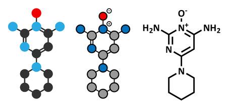 baldness: Minoxidil male pattern baldness (androgenic alopecia) drug molecule. Conventional skeletal formula and stylized representations. Illustration