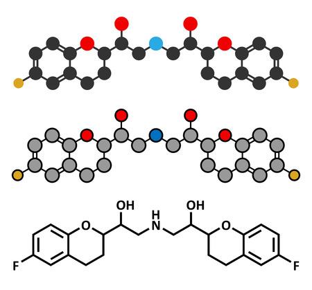 fluorine: Nebivolol beta blocker drug molecule. Used to treat high blood pressure (hypertension). Conventional skeletal formula and stylized representations.