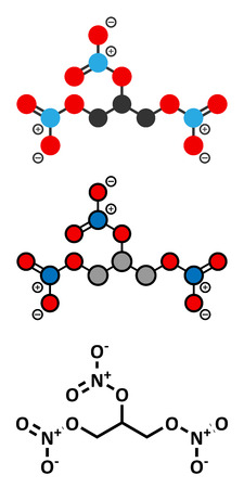 nitroglycerin: Nitroglycerin (nitro, glyceryl trinitrate) drug and explosive molecule. Conventional skeletal formula and stylized representations.