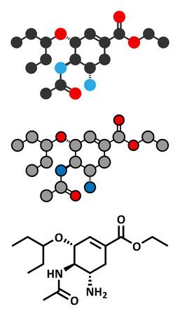 h5n1: Oseltamivir influenza virus drug molecule. Conventional skeletal formula and stylized representations.