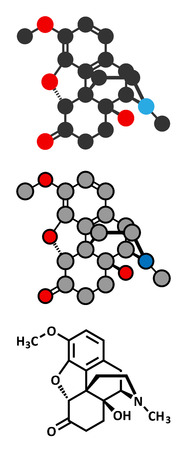 palliative: Oxycodone pain relief drug molecule. Conventional skeletal formula and stylized representations.