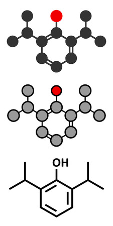representations: Propofol anesthetic drug molecule. Conventional skeletal formula and stylized representations.