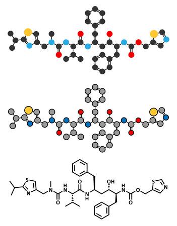 Ritonavir HIV drug (protease inhibitor class) molecule. Conventional skeletal formula and stylized representations. Ilustração