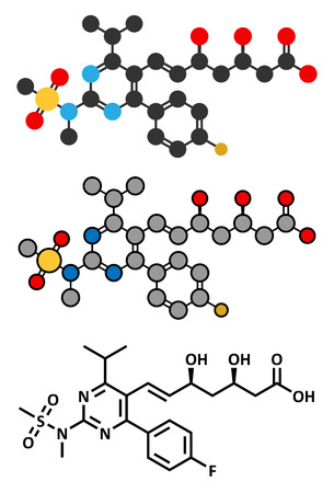 lowering: Rosuvastatin cholesterol lowering drug (statin class) molecule. Conventional skeletal formula and stylized representations.